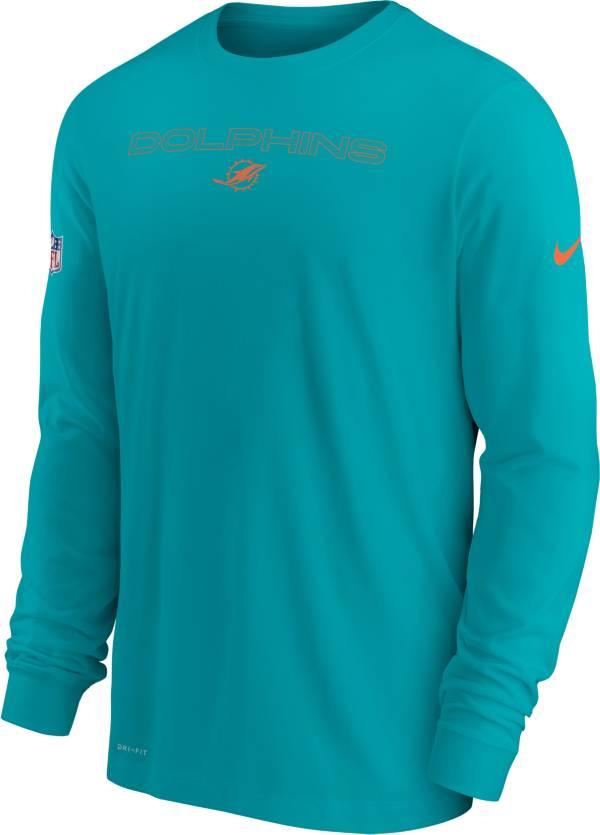 Nike Men's Miami Dolphins Sideline Team Issue Aqua Long Sleeve T-Shirt product image