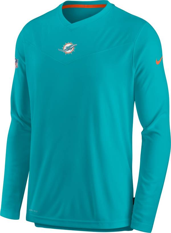 Nike Men's Miami Dolphins Sideline Coaches Green Long Sleeve T-Shirt product image