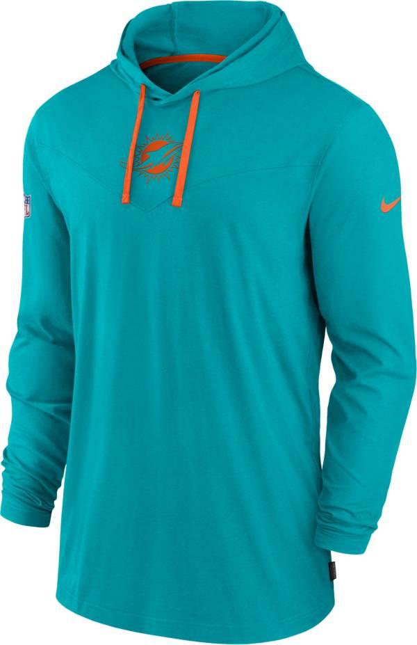 Nike Men's Miami Dolphins Sideline Dri-FIT Hooded Long Sleeve Aqua T-Shirt product image
