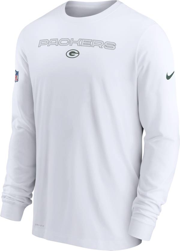 Nike Men's Green Bay Packers Sideline Team Issue White Long Sleeve T-Shirt product image
