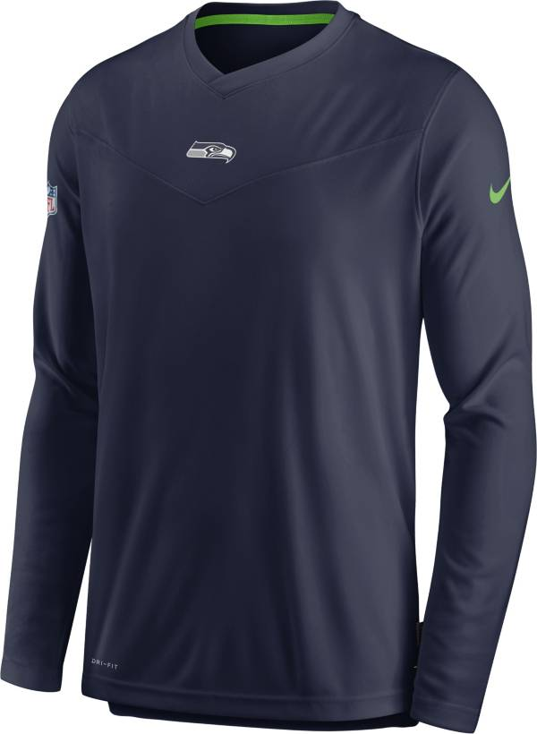 Nike Men's Seattle Seahawks Sideline Coaches Navy Long Sleeve T-Shirt product image