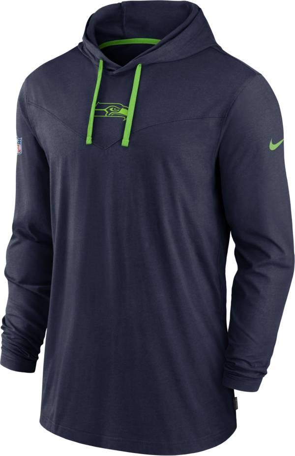 Nike Men's Seattle Seahawks Sideline Dri-FIT Hooded Long Sleeve Navy T-Shirt product image