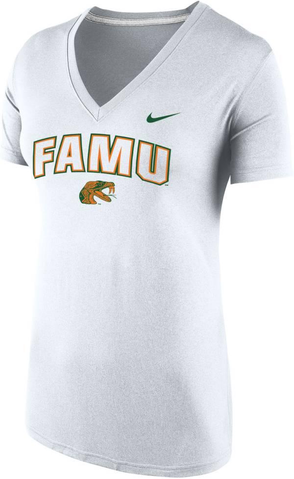 Nike Women's Florida A&M Rattlers Tri-Blend V-Neck White T-Shirt product image