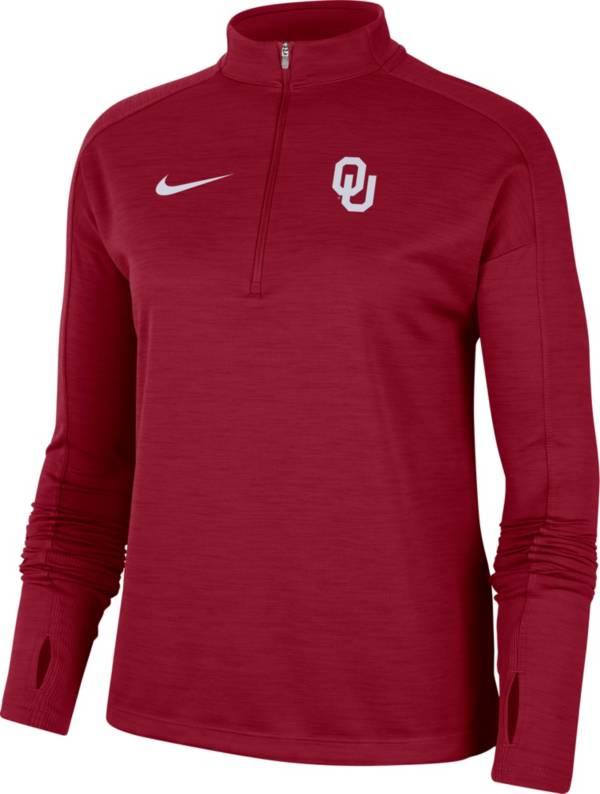 Nike Women's Oklahoma Sooners Crimson Dri-FIT Pacer Quarter-Zip Shirt product image