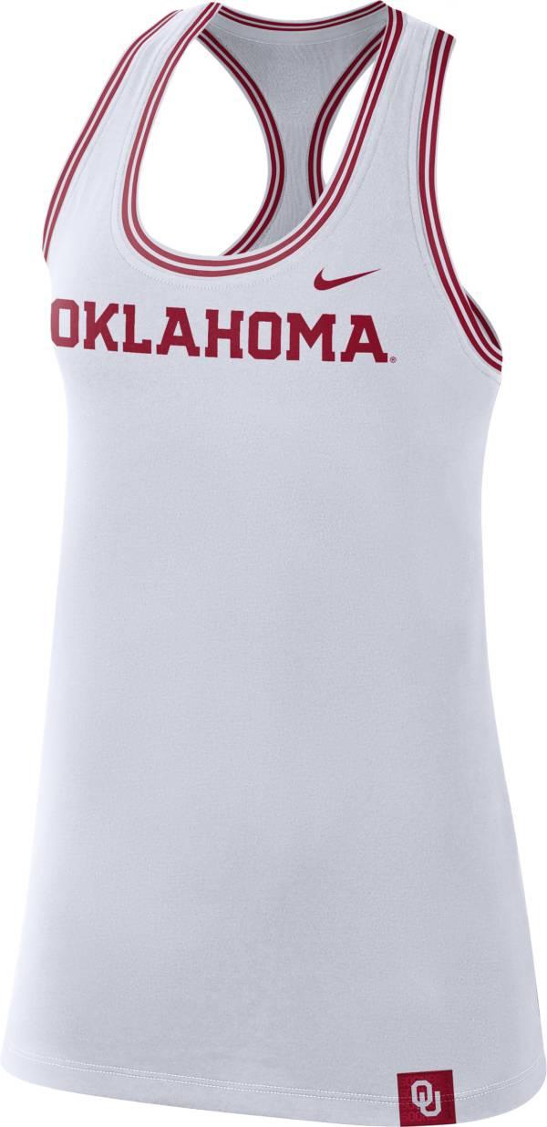 Nike Women's Oklahoma Sooners Dri-FIT Cotton Racer White Tank Top product image