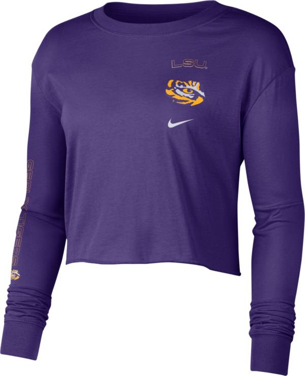 Nike Women's LSU Tigers Purple Long Sleeve Crop Sweatshirt product image