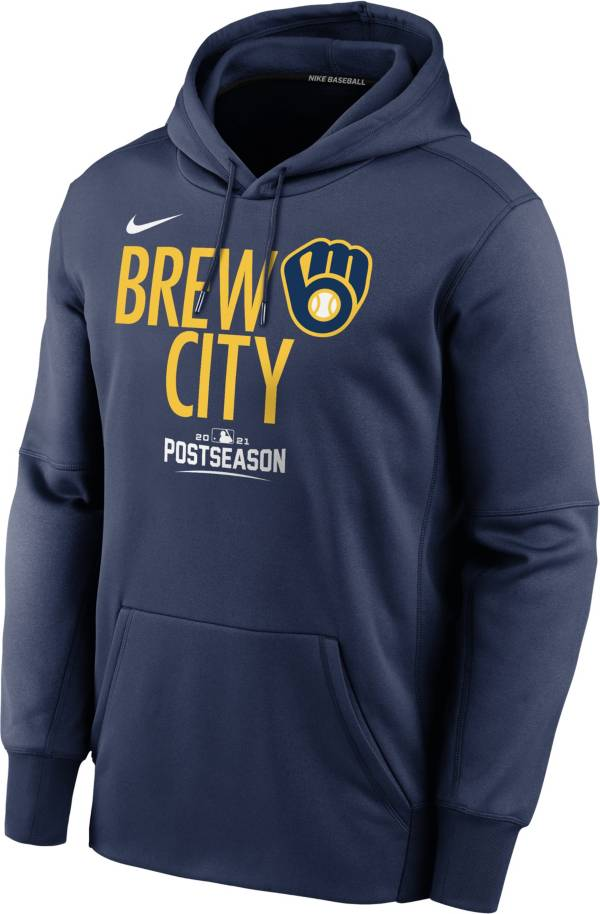Nike Youth Milwaukee Brewers Navy 2021 Postseason Authentic Collection Pullover Hoodie product image