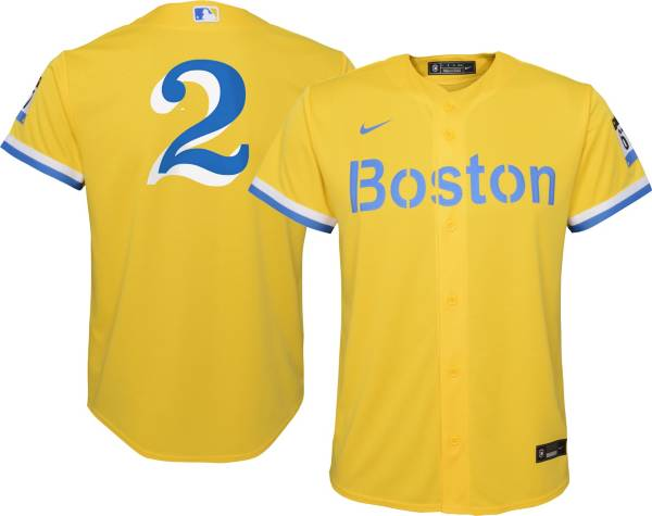 Nike Youth Boston Red Sox Xander Boegarts #2 Gold 2021 City Connect Replica Jersey product image