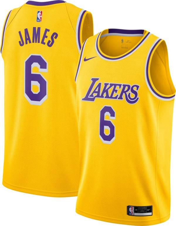 Nike Youth Los Angeles Lakers LeBron James #6 Yellow Dri-FIT Swingman Jersey product image