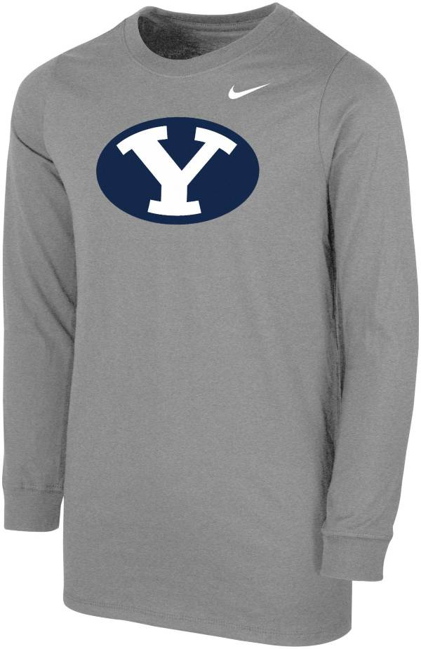 Nike Youth BYU Cougars Grey Core Cotton Long Sleeve T-Shirt product image