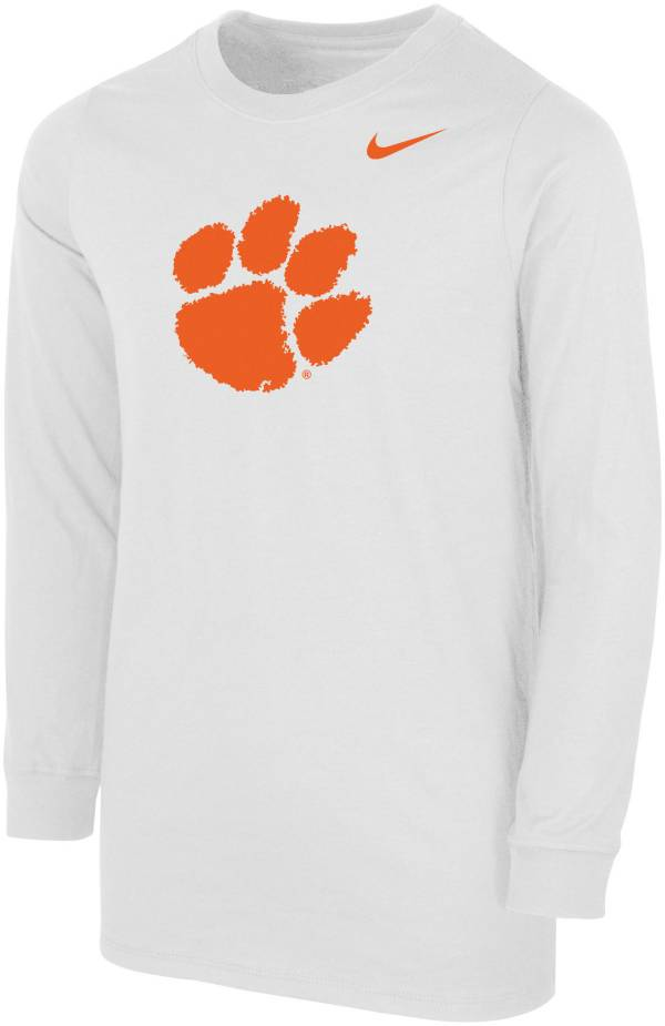Nike Youth Clemson Tigers Core Cotton Long Sleeve White T-Shirt product image