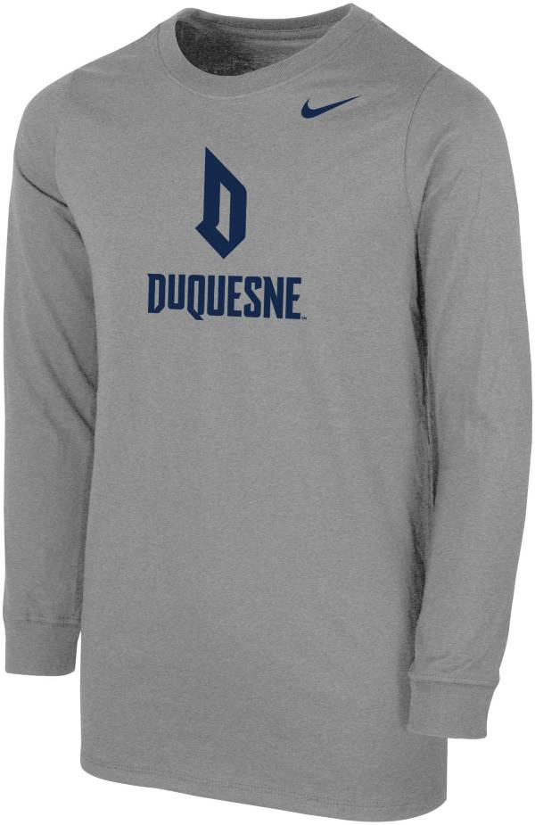Nike Youth Duquesne Dukes Grey Core Cotton Long Sleeve T-Shirt product image