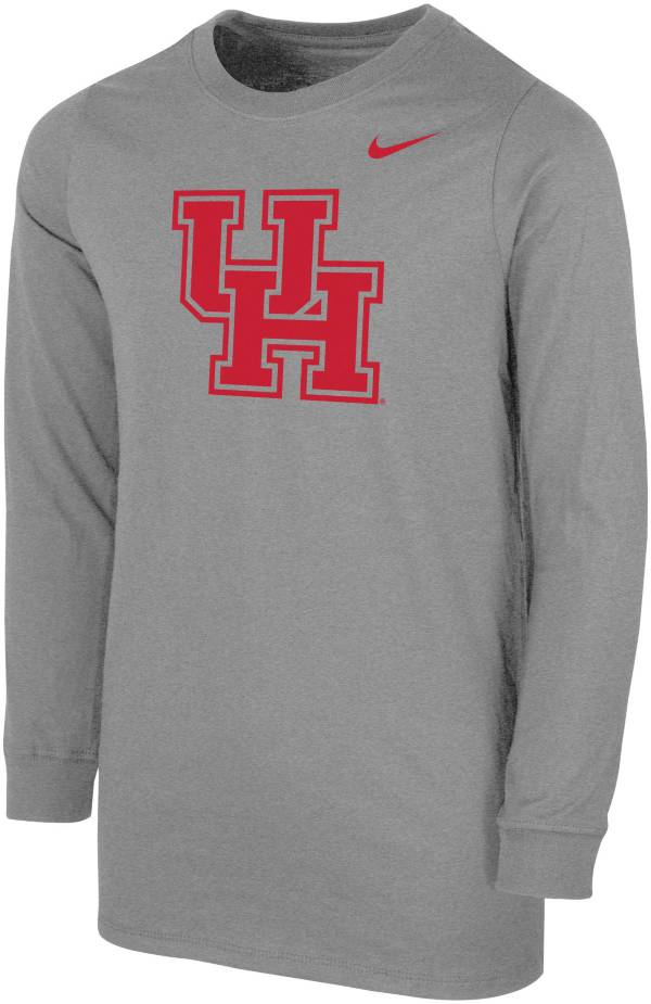 Nike Youth Houston Cougars Grey Core Cotton Long Sleeve T-Shirt product image