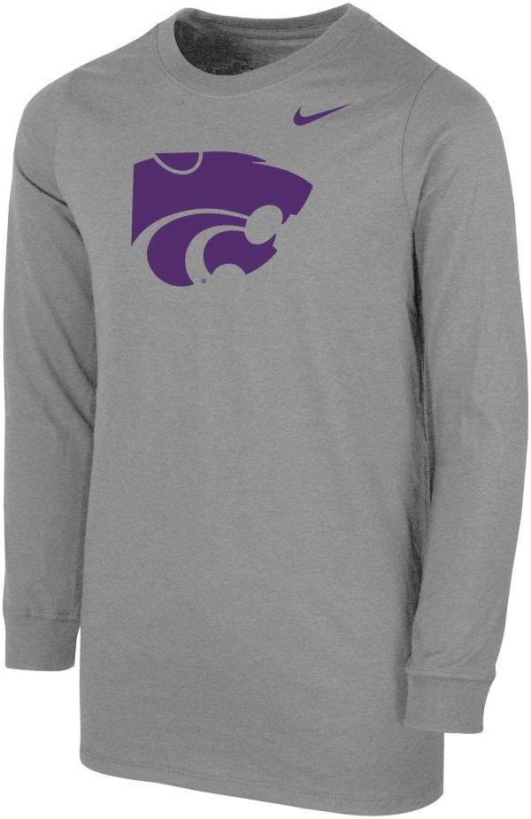 Nike Youth Kansas State Wildcats Grey Core Cotton Long Sleeve T-Shirt product image