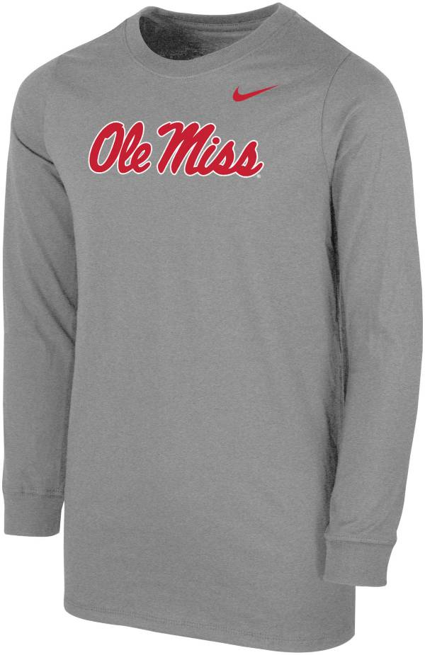 Nike Youth Ole Miss Rebels Grey Core Cotton Long Sleeve T-Shirt product image