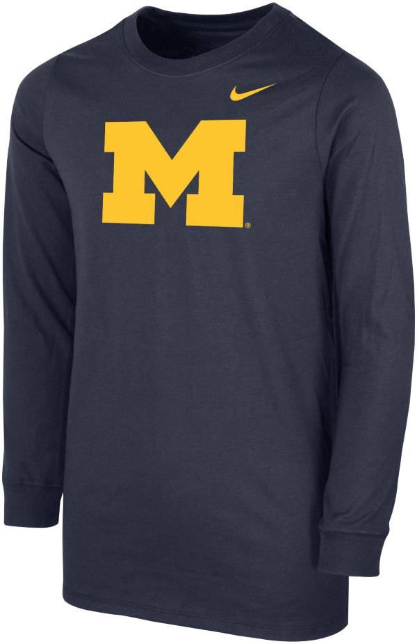 Nike Youth Michigan Wolverines Blue Core Cotton Long Sleeve T-Shirt product image
