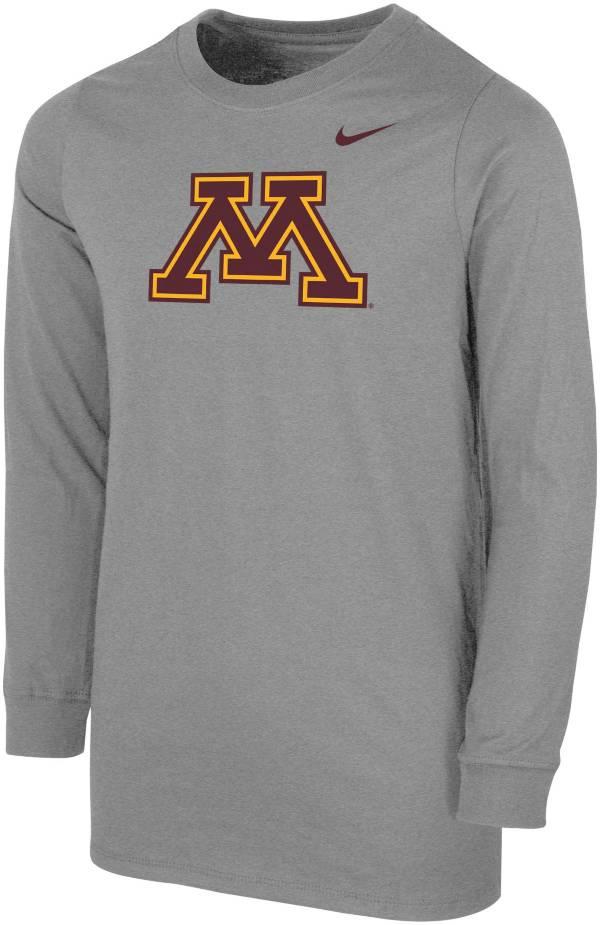 Nike Youth Minnesota Golden Gophers Grey Core Cotton Long Sleeve T-Shirt product image