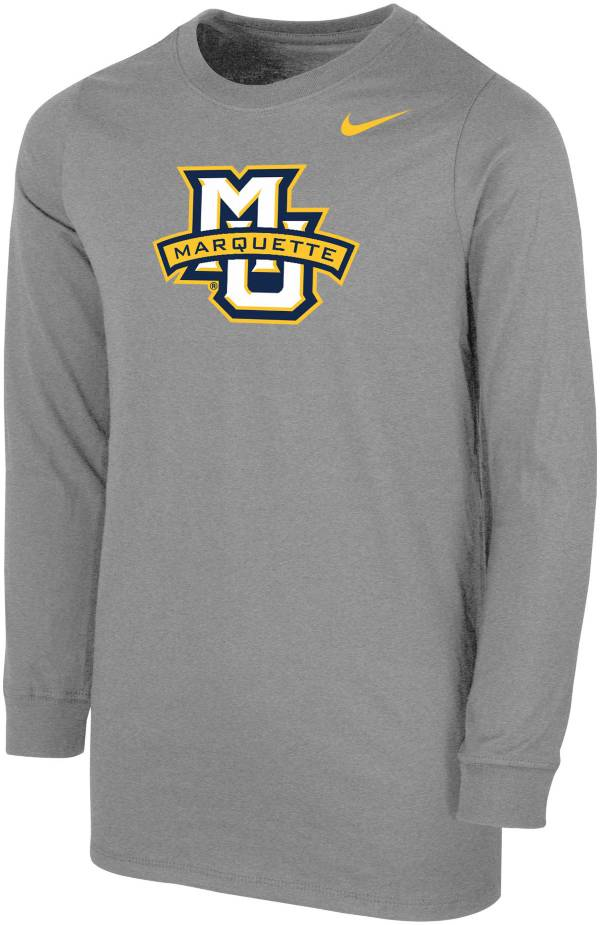 Nike Youth Marquette Golden Eagles Grey Core Cotton Long Sleeve T-Shirt product image