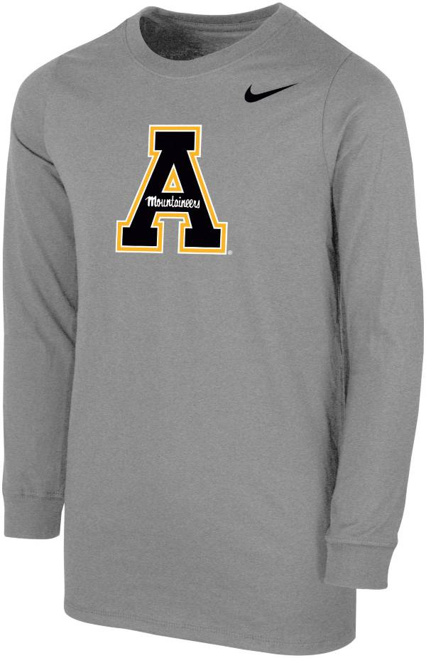 Nike Youth Appalachian State Mountaineers Grey Core Cotton Long Sleeve T-Shirt product image