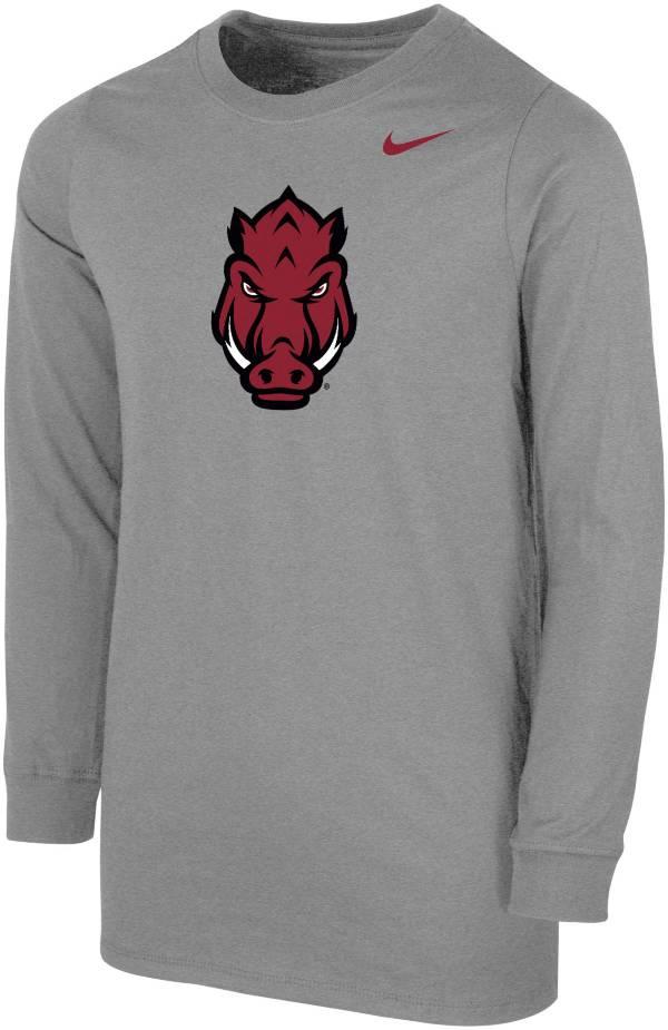 Nike Youth Arkansas Razorbacks Grey Core Cotton Long Sleeve T-Shirt product image
