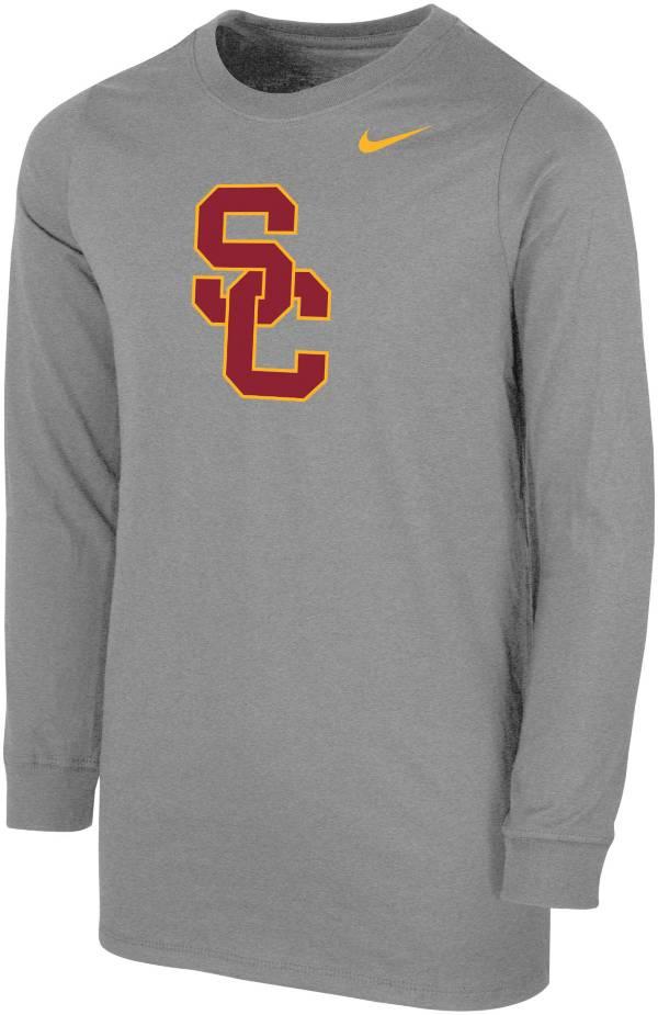 Nike Youth USC Trojans Grey Core Cotton Long Sleeve T-Shirt product image