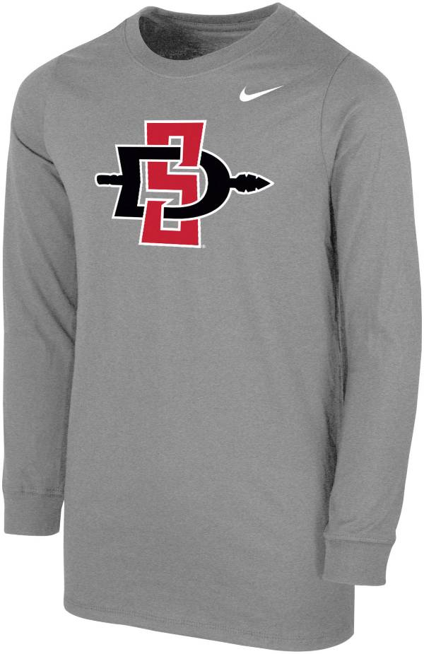 Nike Youth San Diego State Aztecs Grey Core Cotton Long Sleeve T-Shirt product image