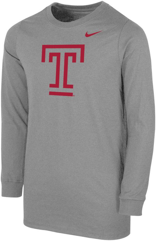 Nike Youth Temple Owls Grey Core Cotton Long Sleeve T-Shirt product image