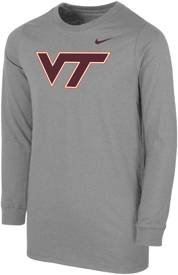 Nike Youth Virginia Tech Hokies Grey Core Cotton Long Sleeve T-Shirt product image