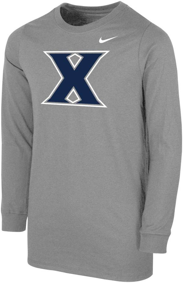 Nike Youth Xavier Musketeers Grey Core Cotton Long Sleeve T-Shirt product image