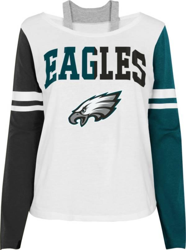 NFL Team Apparel Girl's Philadelphia Eagles White Long Sleeve T-Shirt product image