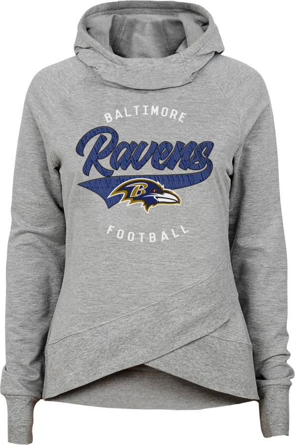 NFL Team Apparel Girls' Baltimore Ravens Heather Grey Pullover Hoodie product image