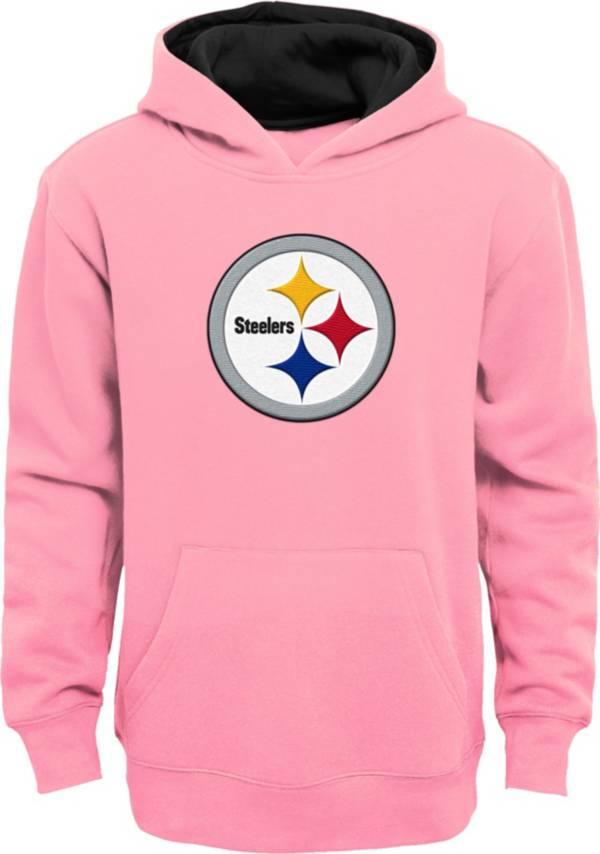 NFL Team Apparel Girls' Pittsburgh Steelers Prime Pink Pullover Hoodie product image