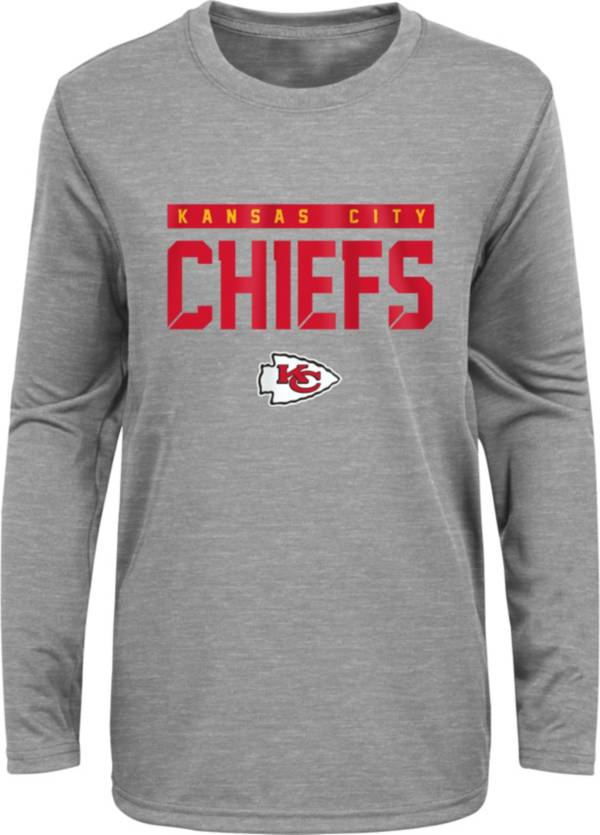 NFL Team Apparel Youth Kansas City Chiefs Charcoal Grey Heather Training Camp Long Sleeve Shirt product image