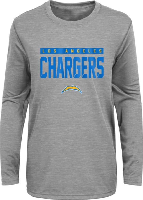 NFL Team Apparel Youth Los Angeles Chargers Charcoal Grey Heather Training Camp Long Sleeve Shirt product image