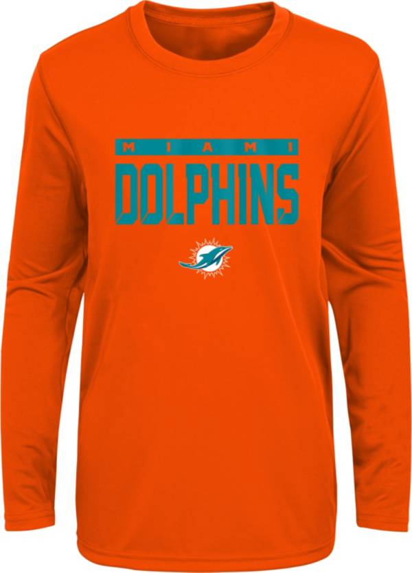 NFL Team Apparel Youth Miami Dolphins Orange Training Camp Long Sleeve Shirt product image