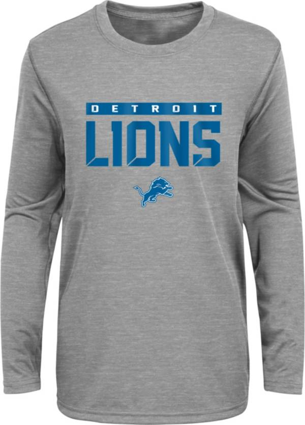 NFL Team Apparel Youth Detroit Lions Charcoal Grey Heather Training Camp Long Sleeve Shirt product image