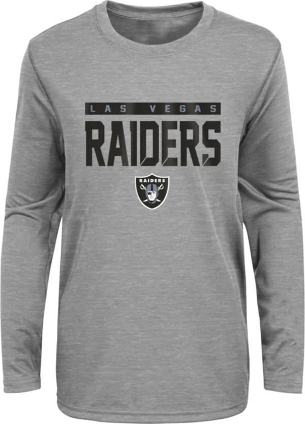 NFL Team Apparel Youth Las Vegas Raiders Charcoal Grey Heather Training Camp Long Sleeve Shirt product image