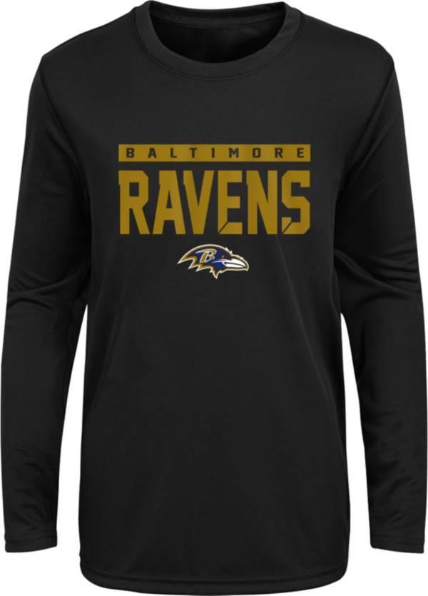 NFL Team Apparel Youth Baltimore Ravens Black Training Camp Long Sleeve Shirt product image