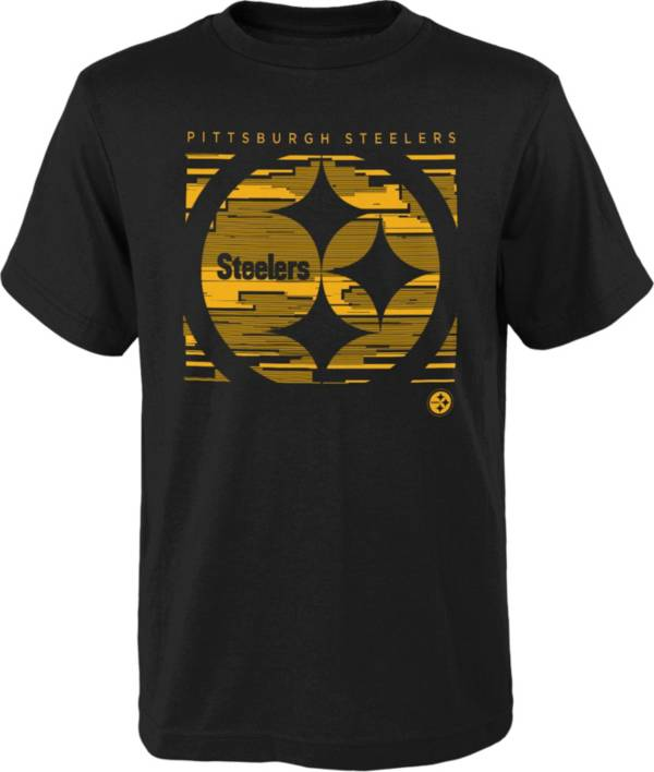 NFL Team Apparel Youth Pittsburgh Steelers Scatter Black T-Shirt product image