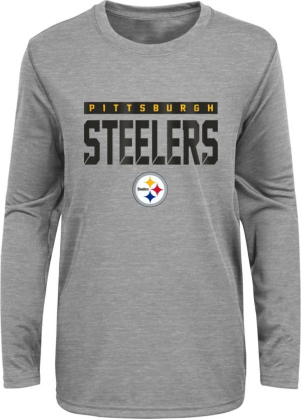 NFL Team Apparel Youth Pittsburgh Steelers Charcoal Grey Heather Training Camp Long Sleeve Shirt product image