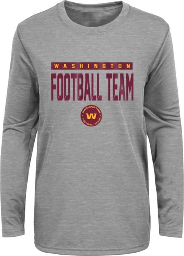 NFL Team Apparel Youth Washington Football Team Charcoal Grey Heather Training Camp Long Sleeve Shirt product image