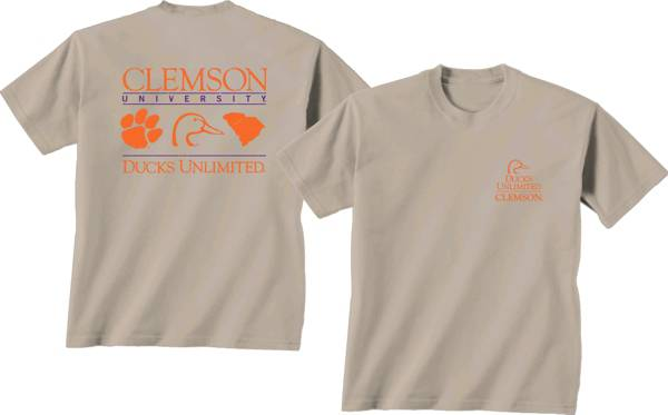 New World Graphics Men's Clemson Tigers Tan Ducks Unlimited Stacked T-Shirt product image