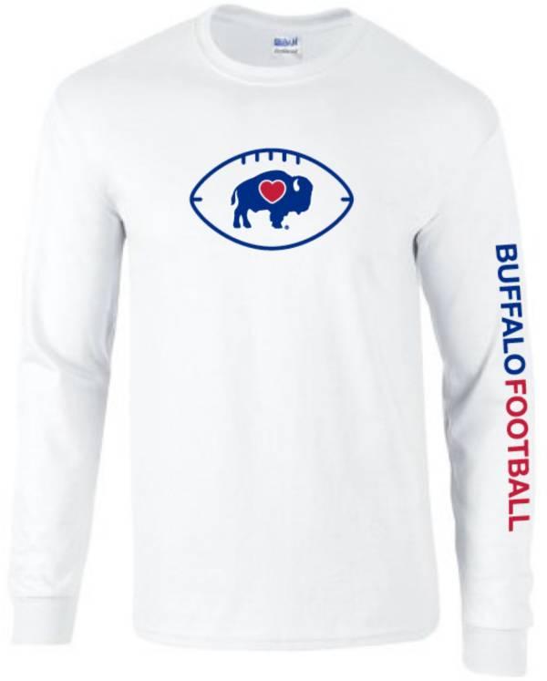 BuffaLove Men's Buffalo Football Long Sleeve White T-Shirt product image