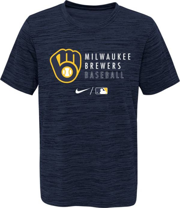 Outerstuff Youth Milwaukee Brewers Velocity Navy Practice T-Shirt product image