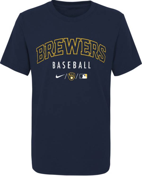 Nike Youth Milwaukee Brewers Navy Early Work Performance Tri-Blend T-Shirt product image