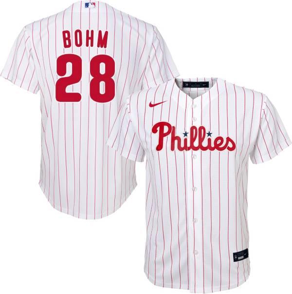 Nike Youth Replica Philadelphia Phillies Alec Bohm #28 Cool Base White Jersey product image