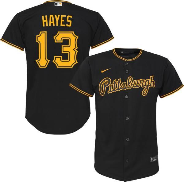 Nike Youth Replica Pittsburgh Pirates Ke'Bryan Hayes #13 Cool Base Black Jersey product image
