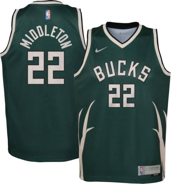 Nike Youth Milwaukee Bucks 2021 Earned Edition Khris Middleton Dri-FIT Swingman Jersey product image