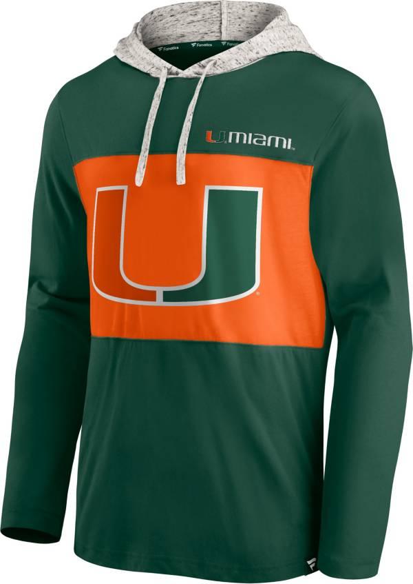 NCAA Men's Miami Hurricanes Green Long Sleeve Hooded T-Shirt product image