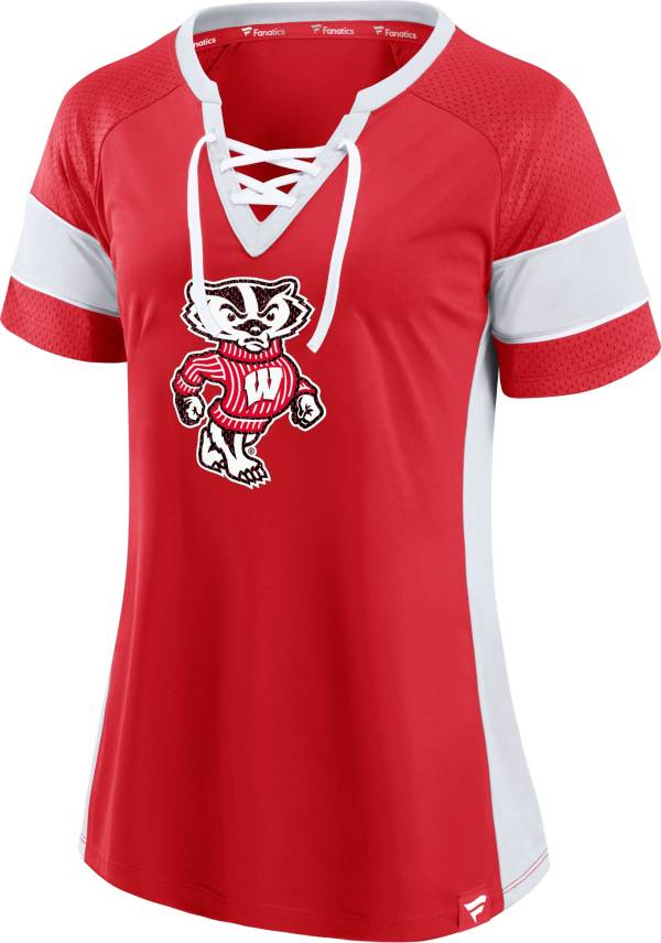 NCAA Women's Wisconsin Badgers Red Lace-Up T-Shirt product image
